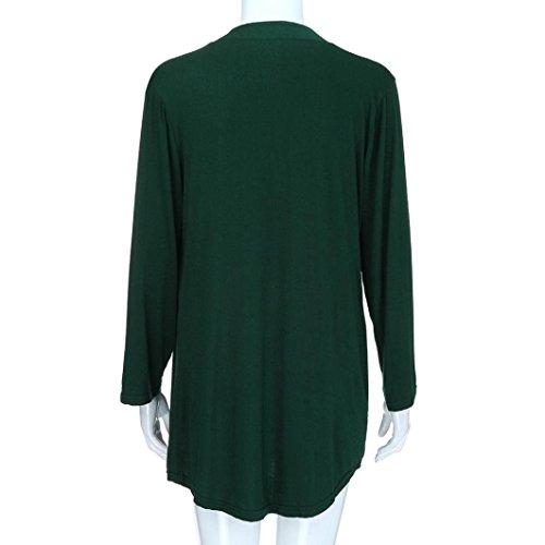 3 Femme Blouse 4 Longues Manches Bringbring T Chemisier Unie Vert Couleur Shirt Lache qSTgEEdwx