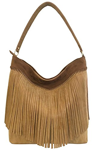 Boho-Chic Vacation & Fall Looks - Standard & Plus Size Styless - STEVEN Gena Hobo Handbag (Tan)