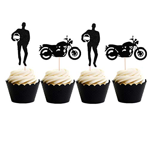 Set of 24 Black Motorcycle Cupcake Topper Scooter Cupcake Topper for Man's Birthday Party or Boy's Birthday -