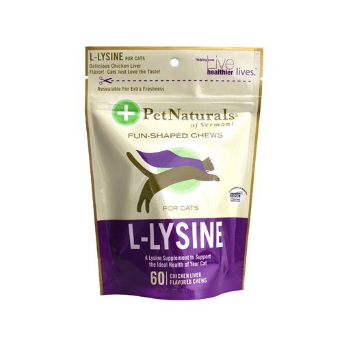 - Pack of 2 x Pet Naturals of Vermont L-Lysine for Cats Chicken Liver - 60 Chewables by Pet Naturals of Vermont