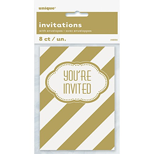 Golden Birthday Party Invitations 8ct product image