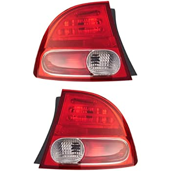 Amazon.com: 2006-2007-2008 Honda Civic 4-Door Sedan & Hybrid Taillamp Taillight Rear Brake Tail ...
