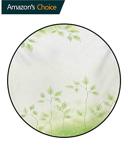 RUGSMAT Forest Small Round Rug Carpet,Fresh Foliage Design with Pastel Colored Leaves Botanic Environment Eco Purity Image Door Mat Indoors Bathroom Mats Non Slip,Diameter-63 Inch