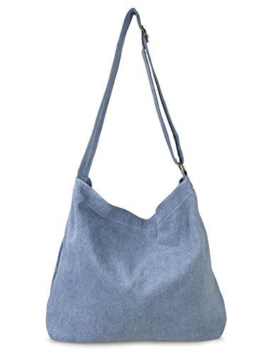 Minimalist Canvas Slouchy Hobo Shoulder Handbag Womens Tote (Denim)