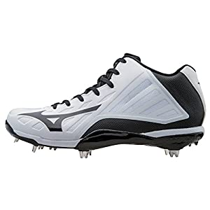 Mizuno Men's Heist IQ Mid Baseball Cleat, White/Black, 9 M US