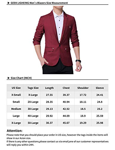 GEEK LIGHTING Slim Fit Single One Button Blazer Jackets for Men(Red,US L=Label 4XL)
