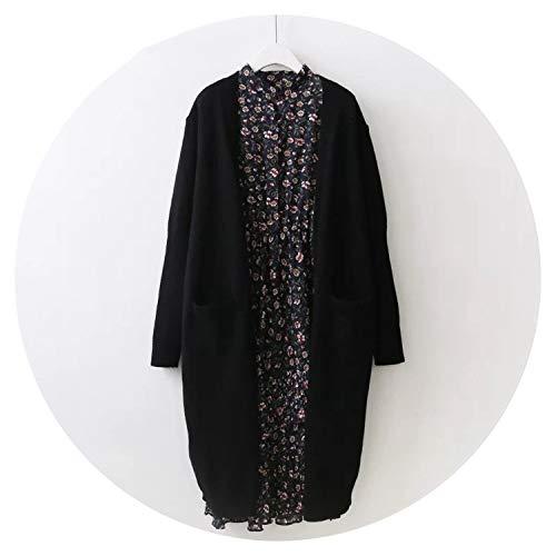 Newmarket Jacket (Qounfhy Women Long Sweater Cardigans Autumn Winter Open Stitch Long Knit Tricot Jumper,Black,One Size)