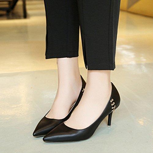de Mujer Desconocido Zapatos Piel Para Vestir negro Welldone2017 de Fz0zE