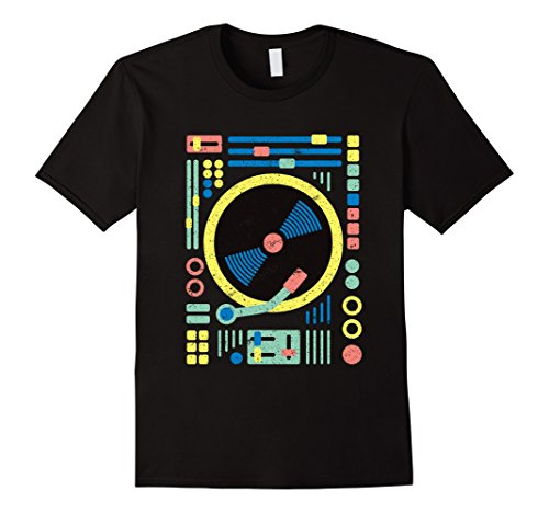 Men's DJ T-Shirt: Retro Vintage Geometric DJ Decks / Vinyl / Mixer XL Black (2)