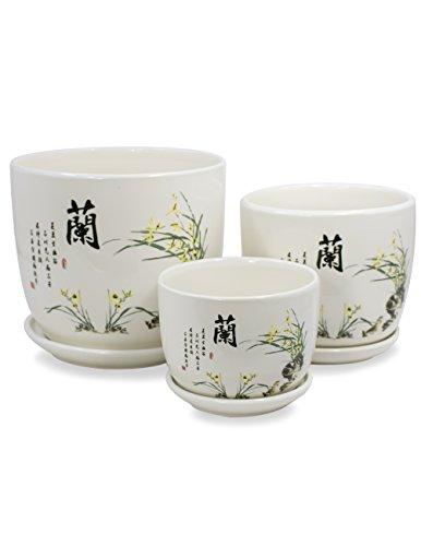 Dahlia Set of 3 Hand Painted Ceramic Planter/Plant Pot/Flower Pot w. Attached Saucer, - Painted Plant Pots