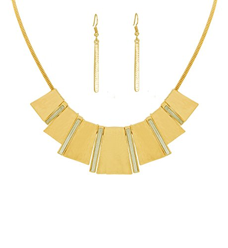 HSWE Chunky Bib Necklace for Women Statement Enamel Collar Necklace (Pure Gold) by HSWE