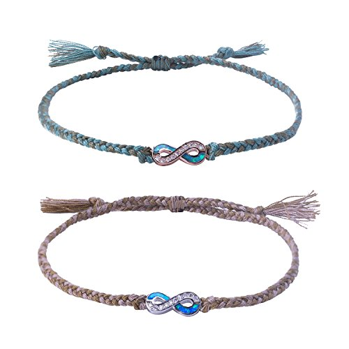 C·QUAN CHI Jewelry Bohemian Braided Friendship Bracelets Woven String Bracelet Boho Style Jewelry Opal Infinity Endless Love Symbol Charm Adjustable Bracelet Lover Couple Bracelet Gifts for Women Man by C·QUAN CHI (Image #1)