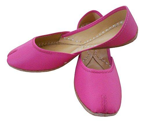 KALRA Creations Traditionelle Handgemachte Kunstleder indischen Damen Ballerinas, Pink - rose - Größe: 41,5 EU M