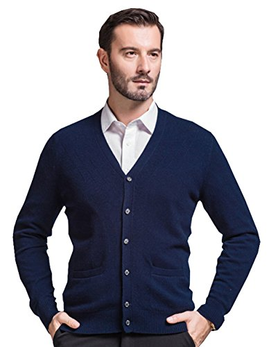 - UN-DONGXIAO Mens Cardigan V-Neck Cashmere Wool Blend Sweater Deep Blue L