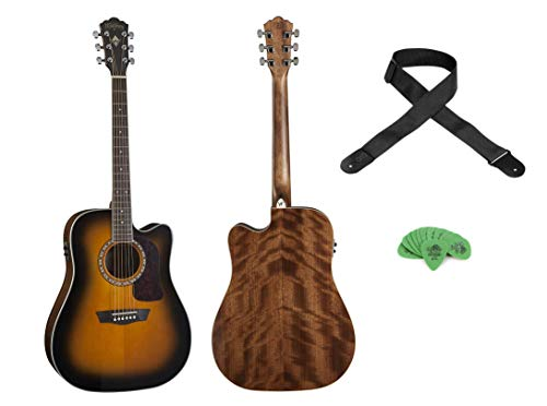 Washburn Heritage Acoustic-Electric Cutaway Guitar - Tobacco Burst+Levy's Woven Poly Guitar Strap+ Dunlop Tortex Standard .88mm Guitar Picks - 12 Pack