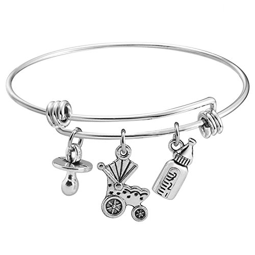KUIYAI New Mother Bracelet Baby Charm Bracelet for Mommy To Be Gift (Silver)