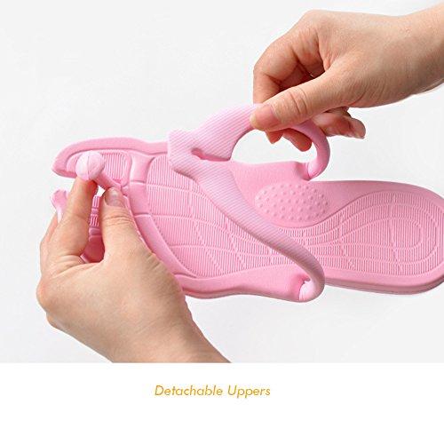 Happy Lily flip-folps Zapatillas suela de antideslizante Mulas uso en interiores o al aire libre sandalias piscina baño zapatos con exterior desmontable. Perfecto para Viajes gris