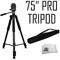 "Pro 75"" Tripod 3-way Panhead Tilt Motion w/ Built In Bubble Leveling For Canon Rebel EOS SL1 SL2 T5 T5i T6i T6s T7i 60D 70D 77D 80D 6D 6D Mark II 7D 7D Mark II 5D Mark III IV 5Ds 5Ds R Digital Camera"