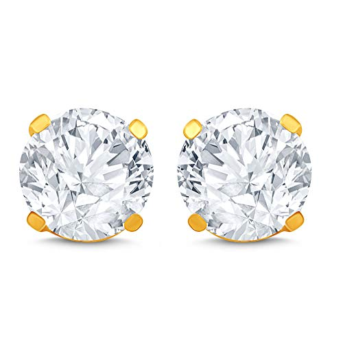 14k Yellow Gold Diamond Stud Earring (1/2 cttw, I-J Color, I2 Clarity) ()