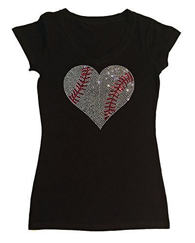 Womens Fashion T-shirt with Crystal Baseball Heart in Rhinestones (Large, Black Cap Sleeve) -