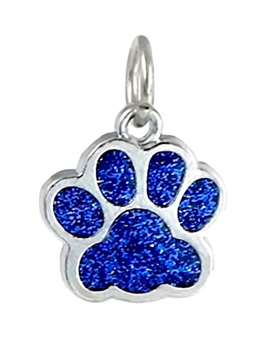 J&M Dangle Enamel Sapphire Blue Cat/Dog Paw Charm Bead for Charms (Blue Dog Beads)