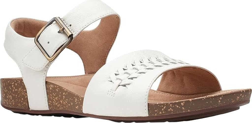 Clarks Women's Un Perri Way Ankle Strap Sandal White Full Grain Leather 8 M