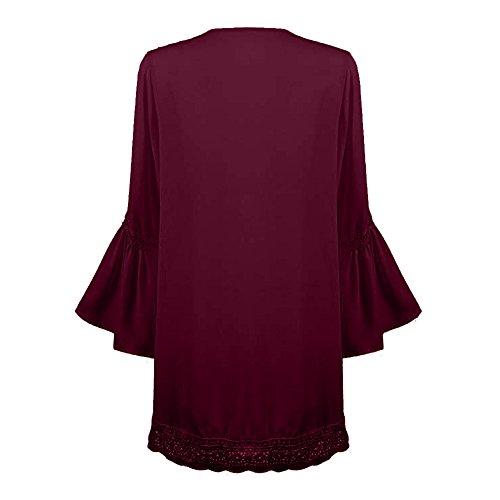 Dentelle Jaquette Manches Mousseline Soie Fluide Cardigan Blouse Tops Kimono Longues Lache Femmes Automne de Sunenjoy Smock Rouge Plage 46xq1ZwZ