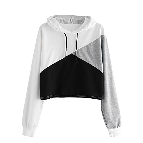 Keepfit Women Patchwork Hoodie Sweatshirt Crop Tops Jumper Hooded Pullover Blouse (M, Black)