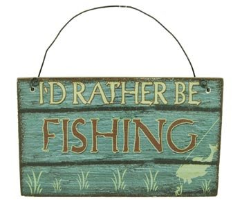 Wooden Fishing Sign Ornament