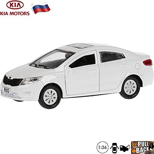 - 1:36 Scale Diecast Metal Model Car Kia Rio White Russian Die-cast Toy Cars