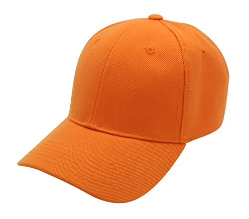 Baseball Cap Hat Men Women - Classic Adjustable Plain Blank, ORG Orange -