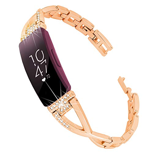 Supoix Compatible for Fitbit Inspire HR Bands & Fitbit Inspire Band, Metal Replacement Wristband Diamond Rhinestone Jewelry Bracelet for Women(Rose Gold)