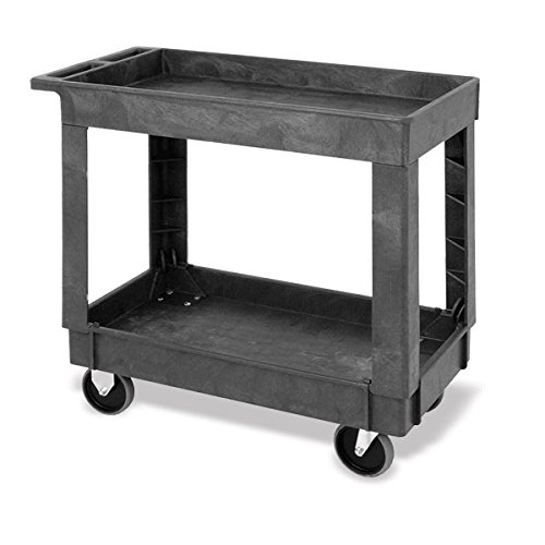 Small 2-Shelf Utility Cart with Raised Sides 34.25''L x 17.5''W x 32.5''H by CeilBlue (Image #1)