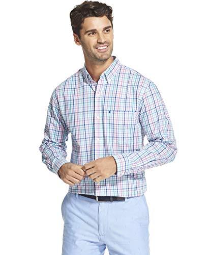 IZOD Men's Slim Fit Button Down Long Sleeve Performance Tattersal Shirt, Rosebud, X-Large