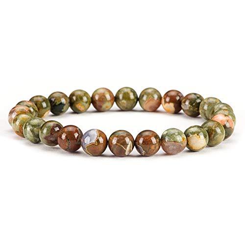 (Cherry Tree Collection Natural Semi-Precious Gemstone Beaded Stretch Bracelet 8mm Round Beads 7