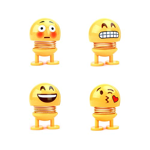 Cute Smiley Solar Powered Toys-Accessories Bobblehead Car Interior Decoration Doll 4 ps Cars Doll