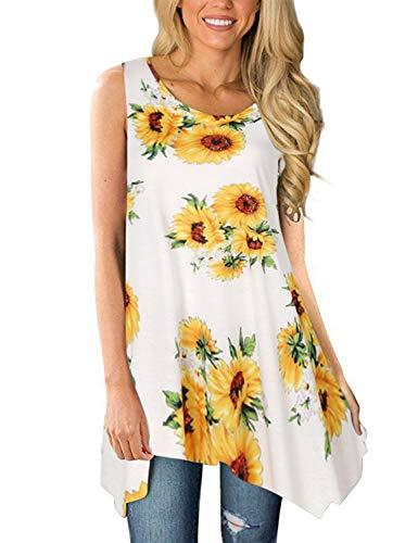 Viracy Women's Summer Casual Sleeveless Swing Tunic Floral Tank Top (XX-Large, 04-Sunflower)