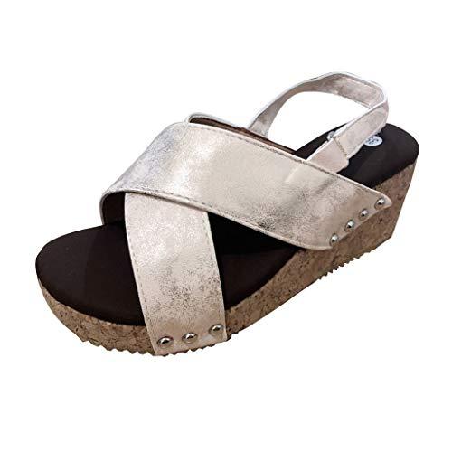 ◕‿◕Water◕‿◕ Sandal Women's,Summer Sandal Rivet Sandals Peep Toe Roman Sandal Bohemian Beach Heels Sandals Gladiator Sandals Beige