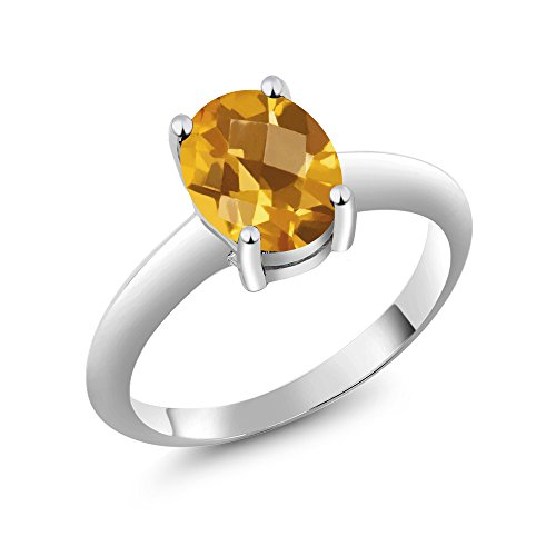 (Gem Stone King 1.60 Ct Solitaire Checkerboard Yellow Citrine 925 Sterling Silver Engagement Ring (Size)