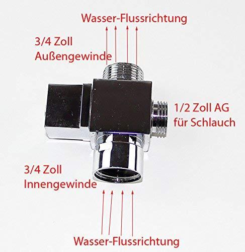 3-Wege Ventil Umstellventil Umsteller Umschalter 3//4 IG zu 3//4 AG venti09