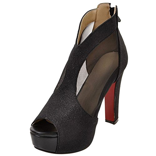 Peep Plataforma VulusValas Black Fashion Mujer Zapatos Toe Sandalias Aqqw1fT5