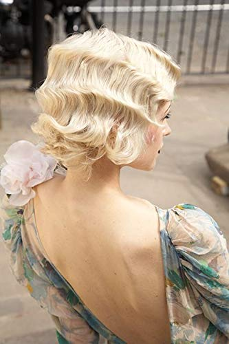STfantasy Finger Wave Wig Blonde Bob Short Curly Synthetic Hair for Women 1920s Cosplay Party -