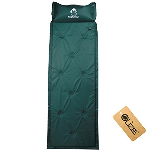 Deluxe Self Inflating Camping Mattress - OLizee trade; Deluxe Self-Inflating Air Pad Mattress Camping Sleeping Mat with Attached Inflatable Pillow