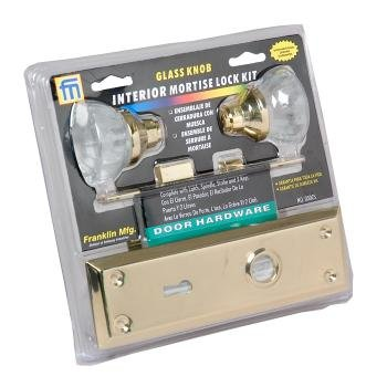 Interior Mortise Lock Kit With Glass Knob W Brass Door Handles
