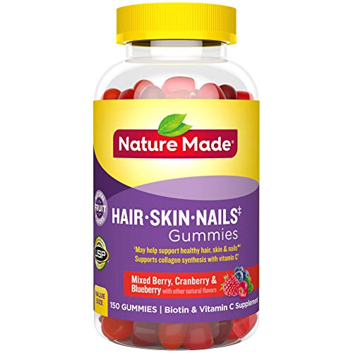 Nature Made Hair, Skin & Nails Gummies with 2500 mcg of Biotin, 150 Count (Packaging May Vary)