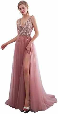 423ae522 iLovewedding Prom Dresses High Slit V Neck Sequins Tulle Long Evening Gowns