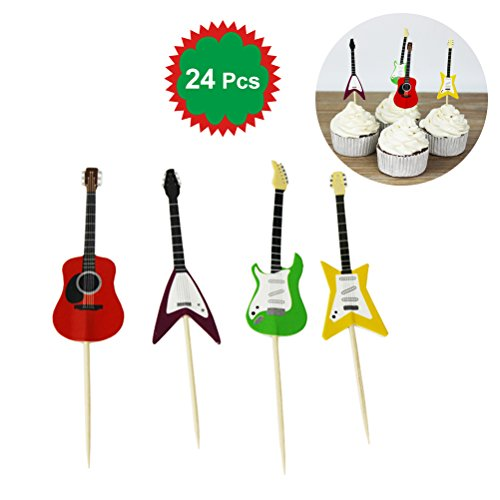 - LUOEM 24pcs Guitar Design Birthday Cake Toppers Jungle Theme Cake Picks for Baby Shower Party Events