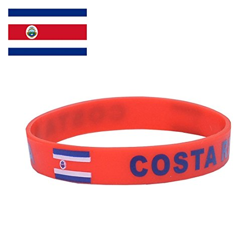 TDoperator Costa Rica Flag Silicone Bracelet FIFA World Cup 2018 For Soccer Fan Unisex Design Soft and Durable Wristband for National Football Supporters Fans Fashion Sport Wrist Strap Souvenir Gift