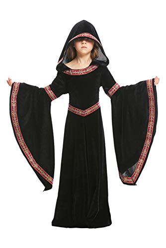 Dark Paradise Womens Kids Girls Medieval Renaissance Dress Costume Halloween Cosplay Hooded Robe Gown 4-12T (Large, Black)