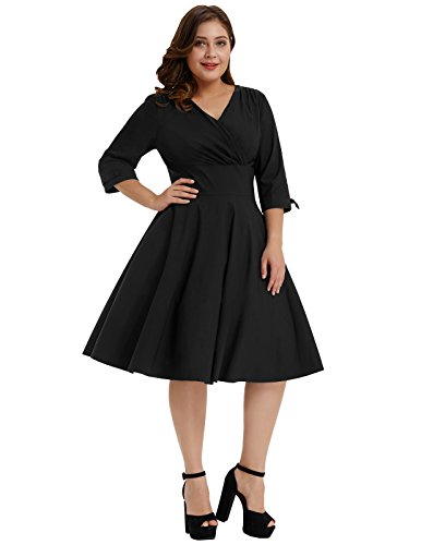 Women's Plus Size V Neck 3/4 Sleeve 1950s Vintage Style Party A-Line Midi Dress Black Size 2X